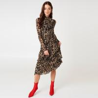 Wholesale Fashion Women Leopard Print Long Sleeve Women Maxi Dresses from china suppliers