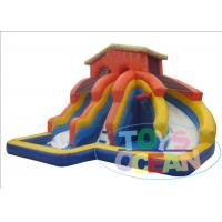 Wholesale Orange Large Inflatable Water Slide For Swimming Pool With Blower  0.9mm PVC from china suppliers