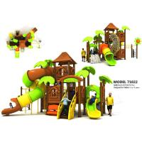 Wholesale Colorful Outdoor Playhouse With Slide , Custom Made Playground Slides PVC Coated from china suppliers