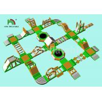 China Green Inflatable Water Obstacle Course For Adult / Aqua Park Play Equipment on sale