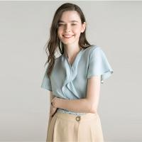 Wholesale V Neck Short Sleeve Summer Blouse from china suppliers