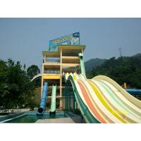 Wholesale Fiber Glass Fadeless Aqua Blue Water Park Open Spiral Slide For Family Members from china suppliers