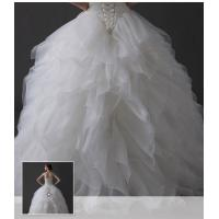 Quality Luxurious Ground Chiffon Ladies Wedding Dresses , v neck ruffled wedding dresses for sale
