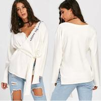 Wholesale Spring Letter Pattern Long Sleeve Knitted Tip Top Women from china suppliers