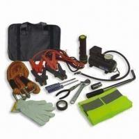 Wholesale Automotive Emergency Tool Kit, Includes 250psi Air Compressor, Booster Cable and Flashlight from china suppliers