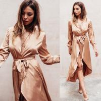 Wholesale Fall Women Clothing Sexy Deep V Neck Satin Wrap Dress from china suppliers