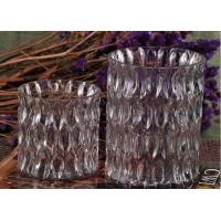Quality 36OZ Large Wax Luxury Glass Votive Candle Holders With Pattern for sale