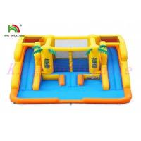 China Yellow Blue Plato PVC Tarpaulin Blow Up Water Slide With Bouncer For Amusement on sale