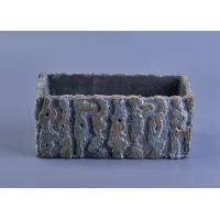 Wholesale rough surface long square cement concrete candle holder with embossed pattern from china suppliers