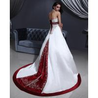 Quality White Elegant Embroidered around the neck Wedding Dresses with Open back , Red for sale