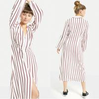 Wholesale 2018 New Arrival Fall Long Sleeve White and Red Striped Zip Front Sex V neck Midi Dress Ladies Autumn from china suppliers