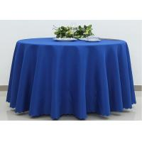 Wholesale Dark Blue Wedding Textile Round Linen Table Cloths , 90 / 108 Inch Round Tablecloth from china suppliers