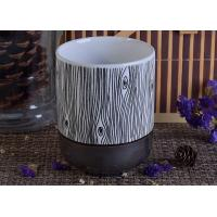 Wholesale Hand Painted Tree Pattern Ceramic Candle Holder Shiny Grey Bottom Ceramic Candle Jar from china suppliers