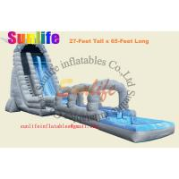 Wholesale inflatable water long slip and slide with a pool from china suppliers
