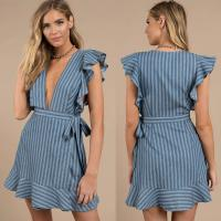 Wholesale Sexy Deep V Neck Ladies Ruffles Wrap Dress Mini from china suppliers