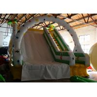China White Summer Big Blow Up Water Slides , Water Bounce House With Climbing Stairs on sale