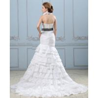 Quality Sexy Open back layered Wedding Dress with belt , drop waist womens wedding gowns for sale