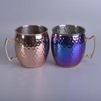 Quality 546Ml Capacity Stainless Steel Metal Candle Jars Luxury Gold Plating for sale