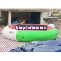 Aquatic Green / White Jumping Inflatable Water Toy , PVC 5m Diameter Water Trampoline