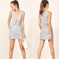 Wholesale 2018 Summer Stripe Pocket Deep V Sex Mini Dress Ladies from china suppliers