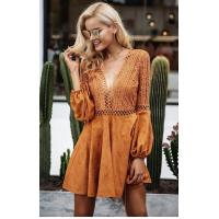 Quality New Design Women Long Sleeve Hollow Out Dress in Causal Dresses Mini Sexi for sale