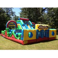 China Yellow and blue basic training commercial bounce inflatable obstacle course slide on sale