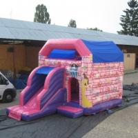 China Pink Waterproof Princess Combo Bounce House With Single Slide on sale