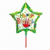Wholesale 9-inch Star-shaped Balloon Toy with Cup Stick, Made of Nylon Aluminum/PE, Two Colors Available from china suppliers