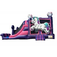 China Unicorn Castle Commercial Bounce House Slide Combo / Toddler Jump House on sale