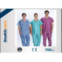 Wholesale Soft Nonwoven Disposable Scrub Suits With ISO13485 Surgical Nurse Coat Pink Dark Green from china suppliers