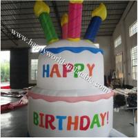 Wholesale Bright and colourful, inflatable birthday cake saying happy birthday from china suppliers