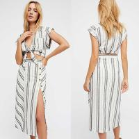 Wholesale 2018 Summer Clothing Deep V Neck With Split Striped Boho Dress For Women from china suppliers