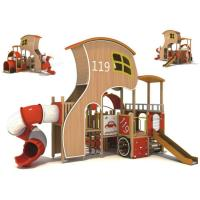 Wholesale Large Plastic Slider Kids Outdoor Play Equipment Firefighter Design Hut from china suppliers