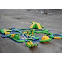 China 25x24 mts green N yellow giant inflatable water park for kids N adults with water trampoline, water seesaw N water spinn on sale