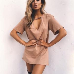 Wholesale China Custom Summer Fashion Hot Sale T-Shirt Choker Dress For Women from china suppliers