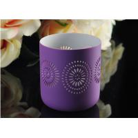 Wholesale Purple pattern Porcelain Candle Holder Bowl / Hollow Ceramic Candle Houses from china suppliers
