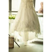 Quality Romantic Lace Off the Shoulder See Through Wedding Dresses with Short Sleeve , for sale