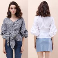 Wholesale Fall Clothing Blouse Ladies Gingham Tops Women Wrap Top from china suppliers