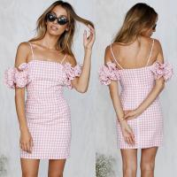 Wholesale 2018 New Arrivals Clothing Ruffled Sleeve Pink Gingham Women Dresses Summer from china suppliers