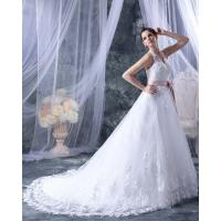 Wholesale Fashion Appliques around the neck V Neck Wedding Dresses with Pink Belt from china suppliers