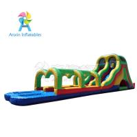 Wholesale Rainbow colors Giant adult inflatable water slide pool game with best material1000D Vinyl from china suppliers