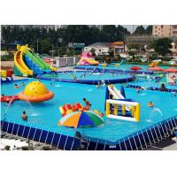 China Unitized Amusement Inflatable Water Parks , Blow Up Water Slide With Bracket Pool on sale
