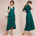 WESTERN WOMEN ELEGANT SHORT SLEEVE LONG GREEN WRAP DRESS MIDI DRESSES WRAP