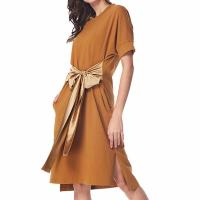 Quality Simple Solid Casual Loose Pocket T Shirt Loose Dress With Belt for sale