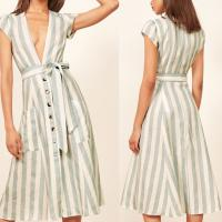 Wholesale Boho Ladies Sex Linen Stripe Midi Dresses With Pocket Dress for Women from china suppliers