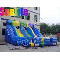 Blue And Yellow Three Tunnel Giant Inflatable Slide Of PVC Inflatable Products CE / UL blo