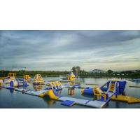 Huge Inflatable Floating Aqua Park Blue , Yellow And White Color EN15649 for sale