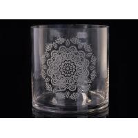Wholesale Customized logo laser engraved flower glass candle jar for home decoration from china suppliers