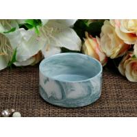 Wholesale Cyan Marbel Ceramic Tealight Candle Jars Round Shape Candle Holder for Party Decor from china suppliers