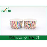 Wholesale Stripe Pattern Paper Ice Cream Cups , Disposable Ice Cream Cups Customized from china suppliers